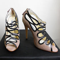 Nib Brian Atwood Metallic Blush Suede Cut Out Sandal With Leather Trim Sz. 38.5 Photo