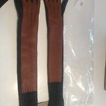 Nib Burberry Leather/ Cashmere Long Gloves. All Tags Msrp 495 Sz Small Photo
