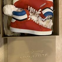 Nib Burberry Reeth Bright Red Leather Suede Logo Hi Top Sneakers Euro Size 41 Photo