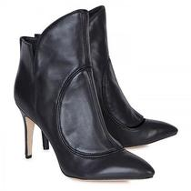 Nib Camilla Skovgaard Black Leather Flame Cutout Ankle Boots Booties Heels 36.5  Photo