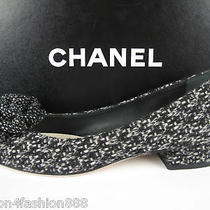 Nib Chanel Cc Logo Tweed Low Heel Ballerina Flats 36 6 Photo