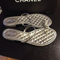 Nib Chanel Silver Flat Quilted Slide Toe Ring Sandal Size 38.5 850 Photo