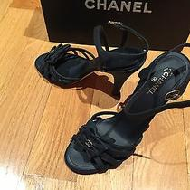 Nib Chanel Size 38 Black Bow Cc Logo Sandals Heels Shoes Photo