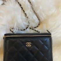 Nib Chanel Small Vanity Case Clutch on Gold Chain Black Caviar Leather Crossbody Photo