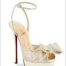 Nib Christian Louboutin Artydiva 120 Gold Bow Ankle Strap Sandal Heel Pump 39.5 Photo