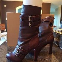 Nib Christian Louboutin Loubi Bike Burgundy Leather 120 Mm Boot 2095 Sz 38.5 Photo
