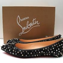 Nib Christian Louboutin Pigalle Silver Gold Black Spiked Flats Shoes Size 39 Photo