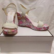 Nib Coach Kara A8244 White Pink Signature Wedge Sandal Shoes 9.5 M Soft Patent Photo