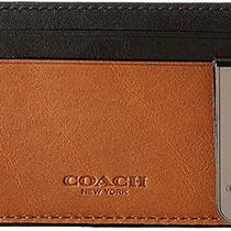 Nib Coach Men's Leather Id Card Case and Money Clip in Saddle/black W Gift Box Photo