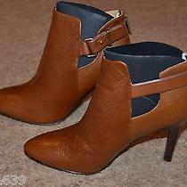 Nib Coach Pebble Grain Walnut Brown Leather Ann Ankle Boots Size 7 1/2  M A7212 Photo