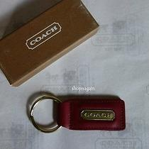Nib Coach Red Antiqued Brass Gold Metal Leather Keyfob Photo