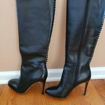 Nib Coach Sz 7 Nickie Tall Black Leather Boots Calf Side Zipper 4 Inch Heel Photo