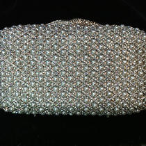 Nib Crystal Evening Bag Clutch Hand Bag Made With Swarovski Element Pearl Silver Photo