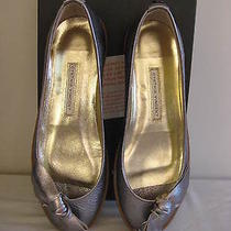 Nib Cynthia Vincent Silver Camilla Leather Flats Sneakers 36 Open Toed Gum Sole Photo