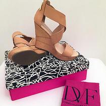 Nib Diane Von Furstenberg Dvf Opal Wedge Sandal Natural Soft Vacchetta Tan 8.5m Photo