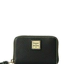 Nib Dooney & Bourke Small Zip Around Credit Card Case Black Leather Wallet Nwt Photo