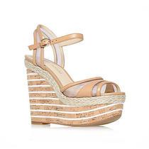 Nib Enzo Angiolini Zosima High Platform Nude Cork Wedge Sandals Size 9.5 Photo