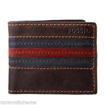 Nib Fossil Alden Simple Bifold Brown Leather Men's Wallet Ml3198 Msrp-40 Photo