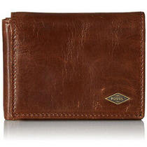 Nib Fossil Men's Brown Genuine Leather Classic Bifold Godfrey Wallet Photo