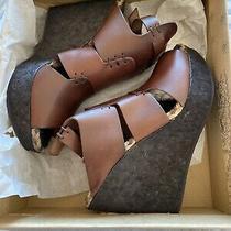 Nib Free People Wedge Vachetta Rose Sandal Heel Platform Shoe Size 8(38) Photo