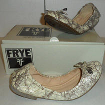 Nib Frye Carson Collapsible Ballet Flats 7 M  Silver Multi Color Leather Shoes Photo