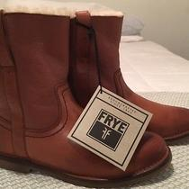 Nib Frye Celia Shearling Lined Short Ankle Boot Bootie Cognac Leather 7.5 298 Photo