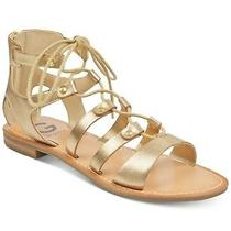 Nib G by Guess Gladiator Leather Lace Up Gold Color Flat Sandals 59.99 Photo