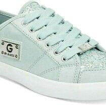 Nib G by Guess Low Top Lace Up Glitter Green & White Sneakers 59 Photo