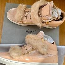 Nib Giuseppe Zanotti 895 Fur Velvet Patent Leather Blush Sneakers 40 9 9.5 Photo
