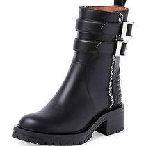 Nib Givenchy Double Buckled Zip Ankle Boot Black Size 39 Calfskin 1425tax Photo