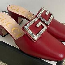 Nib Gucci Madelyn Red Leather Crystal G Logo Block Heel Mule Pumps 37.5 7.5 890 Photo