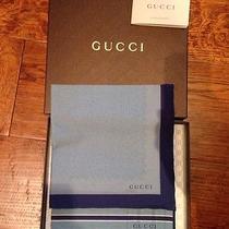 Nib Gucci Men's Set of 2 Handkerchief Pocket Squares Blue in Box Photo