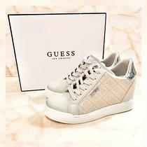 Nib Guess Flowurs Silver Gray Logo Wedge Sneakers 8 Photo