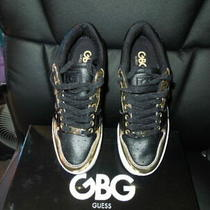 Nib Guess Metallic Black & Gold Sneakers Size  7 1/2 Med Photo
