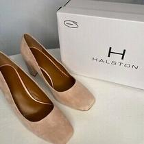Nib Halston Blush Suede Leather Block Heel Shoes Size 10 Photo