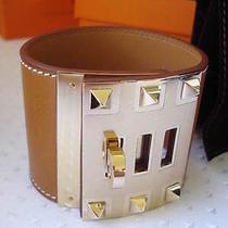 Nib Hermes Fauve Barenia Leather Gold Hardware Kelly Dog Extreme Bracelet S Photo