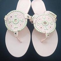 Nib Jack Rogers Georgica Jelly Sandals Thongs Blush Pink & Platinum Sz 9 Photo