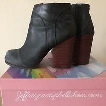 Nib Jeffrey Campbell Hanger Black Leather Booties Size 8.5 Photo