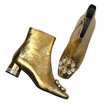 Nib Jeffrey Campbell Sumatra Embellished Gold Bootie Size 7.5 - 195 Photo