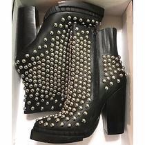 Nib Jeffrey Campbell Womens Whos-It Black Leather Silver Studded Bootie Sz 9 40 Photo