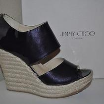 Nib Jimmy Choo Patriot Pat Navy Patent Platform Espadrille Wedge Shoes S 42 / 12 Photo