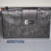 Nib Kenneth Cole Reaction Metallic Gray Zip Around Wallet Photo