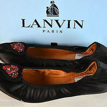 Nib Lanvin Satin With Red Crystal Heart Applique Ballerina Flats 40 Us 8.5/9 Photo