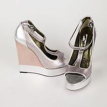 Nib Lanvin Women's Pink Leather W/ Silver 5.5