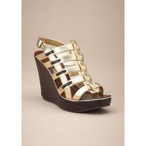 Nib Matiko Mim Sandal Wedge Gold/brn Sz 8m 150 Great Photo