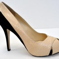 Nib Maxmara Stemma Shoe Sz 36 Blush Snakeskin Blk Suede Peep Toe Pump 90587mm Photo