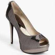 Nib Michael Kors Gunmetal Grey Silver Josie Peep Pump Shoes Heels Size 7 M Photo