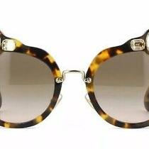 Nib Miu Miu Light Havana 04s 7s0-03d0 Jeweled Sunglasses Photo