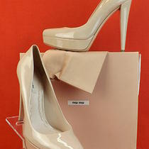 Nib Miu Miu Prada Nude Blush  Patent Leather Classic Platform Pumps 41 10 600  Photo