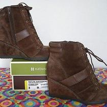 Nib  Naturalizer 5   Coffeebean Suede   Lace-Up Wedge   Bootie   8m (Msrp129) Photo